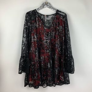 Free People Black Sequin Floral Tunic Dress
